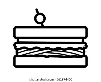 Sandwich with meat, lettuce and tomatoes line art vector icon for food apps and websites