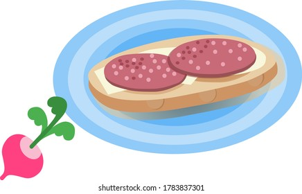 Sandwich with sausage on a plate and radish. Stylish sandwich.Vector illustration on a white background.