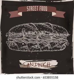 Sandwich sketch on black grunge background. Street food series. Great for market, restaurant, cafe, food label design.