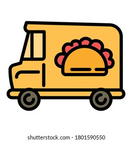 Sandwich street truck icon. Outline sandwich street truck vector icon for web design isolated on white background