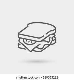 sandwich thin line icon, black color, isolated