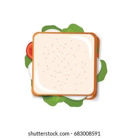 sandwich top view vector illustration