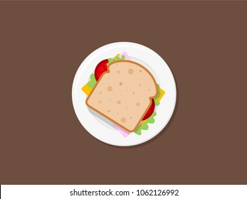 Sandwich top view vector style illustration. Sandwich bread on plate isolated on the brown background. Sandwich icon in flat style.