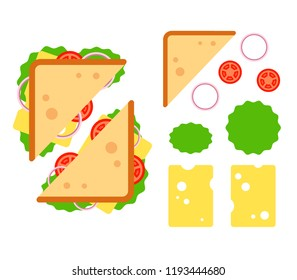 Sandwiche top view with tomato, onion, salad, cheese isolated on white background, snack for breakfast and lunch, flat vector illustration