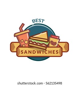 Sandwiches badge, label, logo, icons design templates. Vector illustration