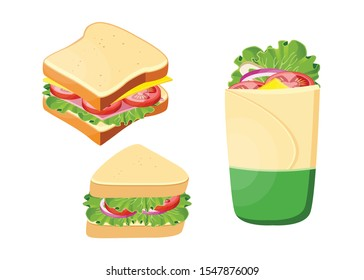 Sandwiches, Burger and hamburger, Isolated Set: Vector Illustration.