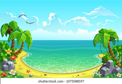 Sandy beach with palm trees. Sea gulf in the Tropics.  Vector background for design.