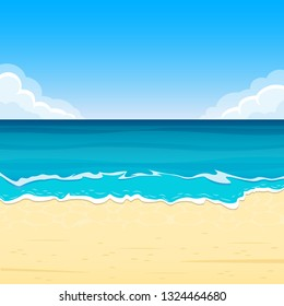 Sandy Beach with Sea Waves. Summer Background with Sand Shoe, Sea or Ocean and Sky with Clouds. Tropical Landscape for Travel and Vacation Banner. Vector Illustration.