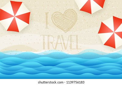 Sandy beach top view vector illustration. I love travel concept