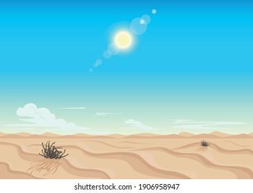 Sandy desert, blue sky, bright sun and clouds on the horizon. Landscape horizontal background. Vector illustration.
