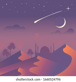 Sandy desert at night time landscape. Extreme journey, tourism concept with night stars and dunes. Vector illustration.