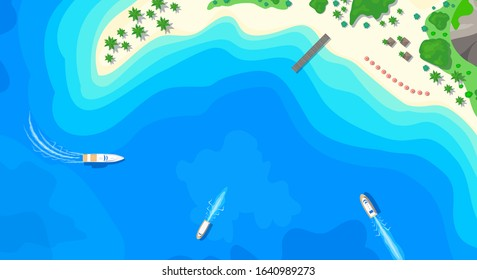 sandy island beach wooden pier sailing boats  in sea top aerial view vector illustration