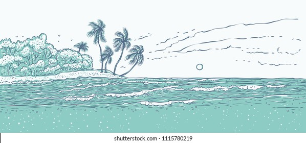 Sandy tropical island with palm trees, sea waves surf. Landscape beach in ocean for summer holiday and tourism. Monochrome vector illustration background for design cards or banner.