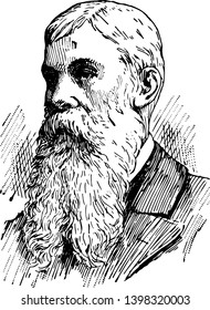 Sanford Ballard Dole 1844 to 1926 he was a lawyer and jurist in the Hawaiian Islands vintage line drawing or engraving illustration