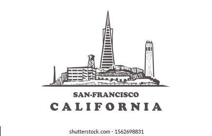 San-Francisco sketch skyline. USA, San Francisco hand drawn vector illustration. Isolated on white background.
