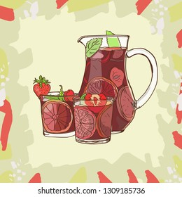 Sangria Cocktail classic. Traditional spanish alcohol bar drink. Hand drawn jug and glass of fresh sangria with orange , peach, lemon, strawberry, apple, mint. Vector illustration eps 10