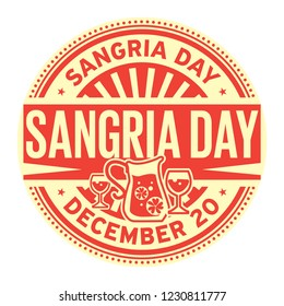 Sangria Day, December 20, rubber stamp, vector Illustration