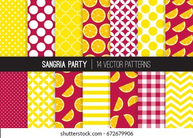 Sangria Party Vector Patterns in Burgundy Red and Yellow Chevron, Stripes, Polka Dots, Gingham and Moroccan Quatrefoil Lattice. Orange Slices on Wine Background. Pattern Tile Swatches Included.