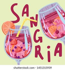 Sangria, summer drink with ice, concept illustration, banner or promotional offer, summer menu in a cafe or restaurant, bright vector cartoon flat illustration