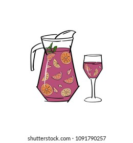 Sangria. Traditional spanish alcohol drink. Hand drawn jug and glass of fresh sangria with orange , peach, lemon, strawberry, apple, mint. Vector illustration eps 10