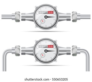 Sanitary equipment. Water meter with pipeline. Vector illustration on white background
