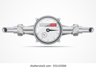 Sanitary equipment. Water meter with pipeline. Vector illustration on white background.