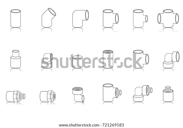 Sanitary Pipe Fittings Icon Catalogue Vector Stock Vector Royalty Free 721269583