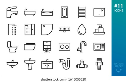 Sanitary Ware and Plumbing icons set. Set of bathroom icons, bath tub, heated rail, shower stand, shower stall, shower tray and drain, wash basin, faucet, toilet, kitchen sink,  cabinet vector icon