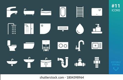 Sanitary ware solid icons set. Set of bathroom, bath, faucet, toilet, shower, sink, washbasin, water trap, shower drain, heated towel rail, bathtub, pipes, plumbing pipes and fittings glyphs icon