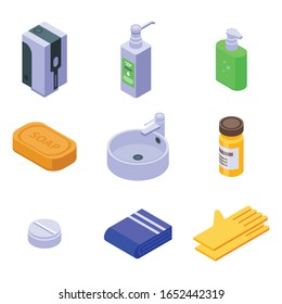 Sanitation icons set. Isometric set of sanitation vector icons for web design isolated on white background
