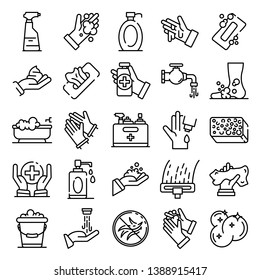 Sanitation icons set. Outline set of sanitation vector icons for web design isolated on white background
