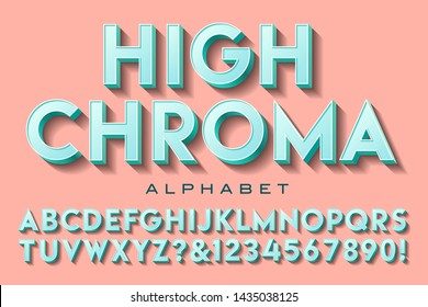 A sans serif capitals and numerals alphabet; this font has high chroma values of teal, with a salmon pink background.