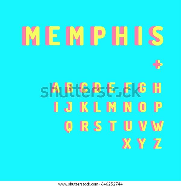 Sans Serif Font Memphis Style Colorful Stock Vector (Royalty