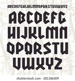 Sanserif blackletter font. Black print on light texture background