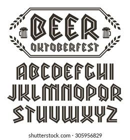 Sanserif blackletter font. To Oktoberfest theme. Black font on white background