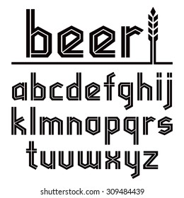 Sanserif blackletter font. To Oktoberfest theme. Black font on white background. Lower case.