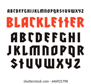 Sanserif font in black letter style. Design for titles and logos. Isolated on white background