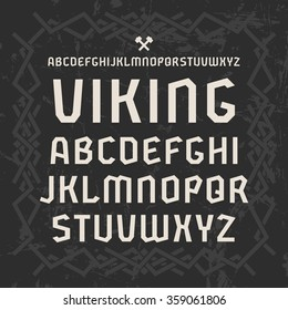 Sanserif font in historical style. White print on black background