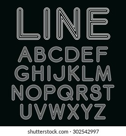 Sanserif  font with rounded corners. Vector linear font in mono line style isolated on black background