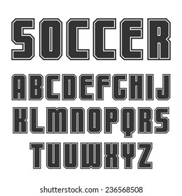 Sanserif font in sport style with contour. Black print on a white background