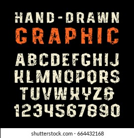 Sanserif font in the style of handmade graphics. Bold face. Letters with shabby texture. Print on black background