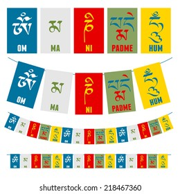 "Sanskrit calligraphy of Buddhist Mantra  ""Om Mani Padme Hum"" on multicolored flags."