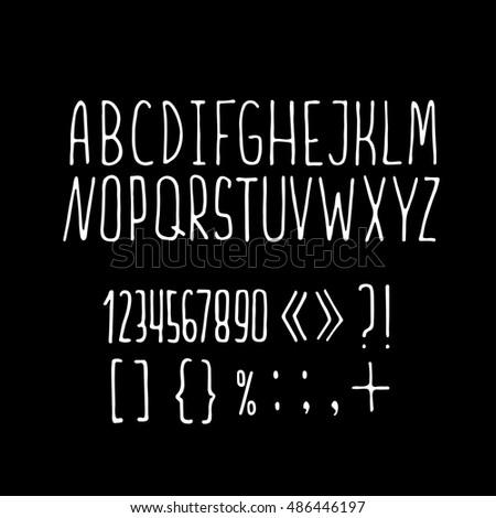 Sansserif Handdrawn Pen Font Alphabet Letters Stock Vector Royalty