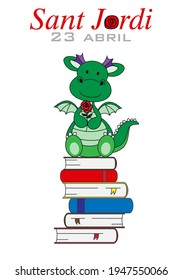 Sant Jordi traditional festival of Catalonia Spain. Dragon with a rose sitting on top of books. isolated vector
