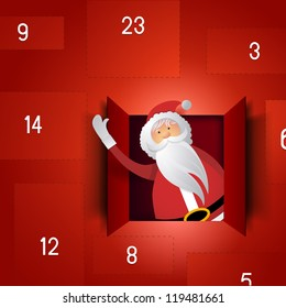 Santa Advent Calendar - Festive Christmas vector.