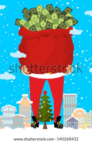 santa and bag of money christmas gift cash red sack with dollars