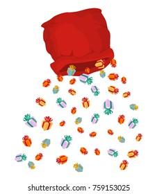 Santa bag rain gifts. Christmas sack with gift. lot of festive box