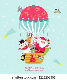 Santa in a balloon. Christmas card