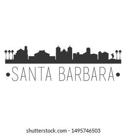 Santa Barbara California. City Skyline. Silhouette City. Design Vector. Famous Monuments.