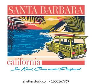 Santa Barbara California retro poster design illustration